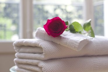 towel and a rose on it